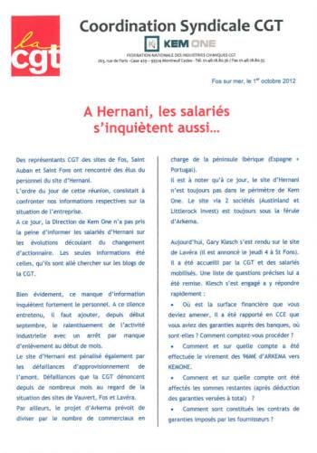 Comunicado del sindicato CGT de KEM ONE (texto en francés)